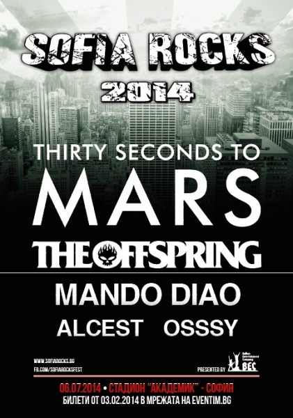 30 SECONDS TO MARS, THE OFFSPRING, ALCEST, MANDO DIAO, OSSSY