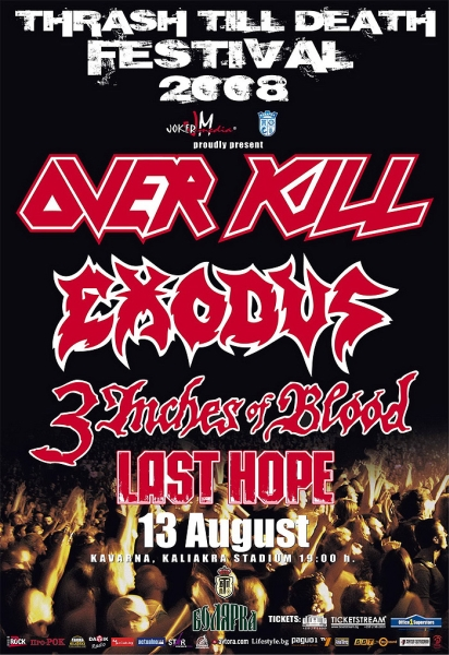 OVERKILL, EXODUS, 3 INCHES OF BLOOD